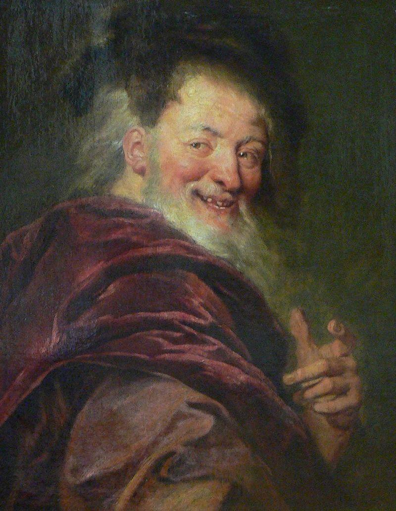 Democritus, pictură de Antoine Coypel, muzeul Louvre, Paris, sursă Wikipedia.