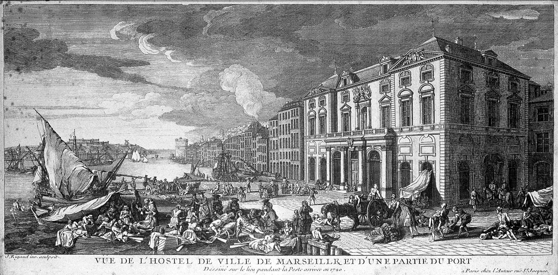 Portul Marseille în timpul ciumei din 1720. Lucrare de Jacques Rigaud. Sursă foto Wellcome Images, Wikipedia.